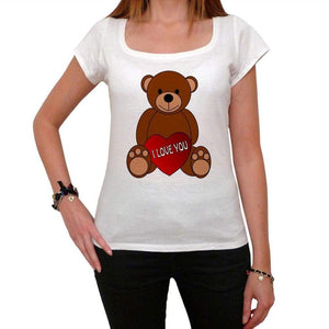Valentines Day Teddy Bear Tshirt White Womens T-Shirt 00157