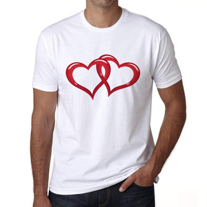 Valentines Interlaced Hearts Mens Tee White 100% Cotton 00156