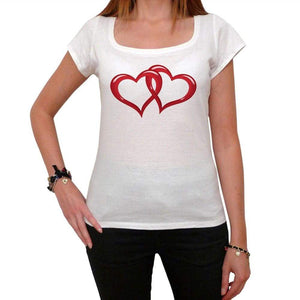 Valentines Interlaced Hearts Tshirt White Womens T-Shirt 00157