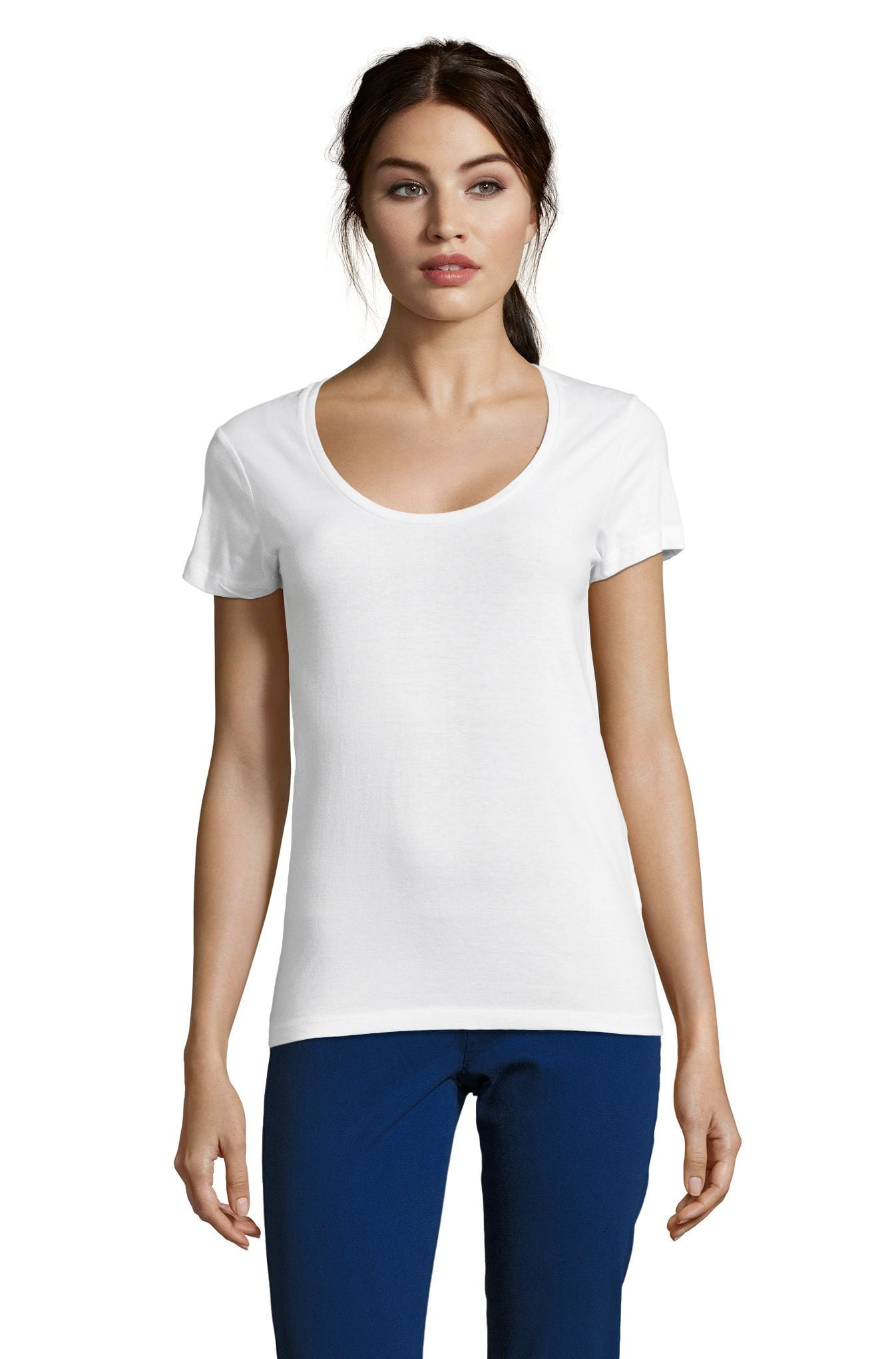 <span>Advanced Order</span> • <span>Custom Women&#x27;s Scoop Neck T-shirt</span> • <span>Your multicolor design on several t-shirt colors of your choice</span> (12 <span>colors</span>)