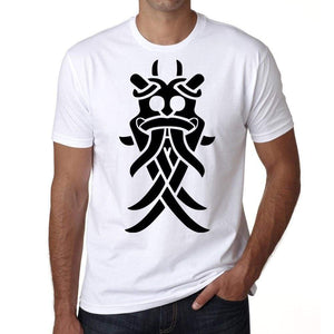 Viking Mask Tribal Tattoo Mens White Tee 100% Cotton 00162