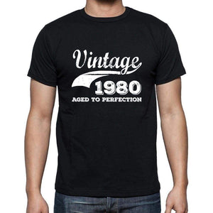 Vintage 1980 Aged To Perfection Black Mens Short Sleeve Round Neck T-Shirt 00100 - Black / S - Casual