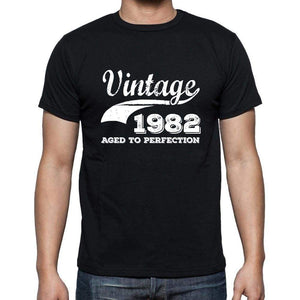 Vintage 1982 Aged To Perfection Black Mens Short Sleeve Round Neck T-Shirt 00100 - Black / S - Casual