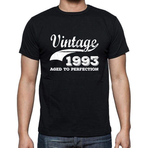 Vintage 1993 Aged To Perfection Black Mens Short Sleeve Round Neck T-Shirt 00100 - Black / S - Casual