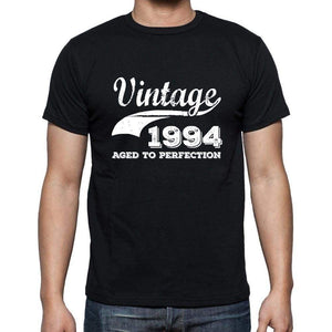 Vintage 1994 Aged To Perfection Black Mens Short Sleeve Round Neck T-Shirt 00100 - Black / S - Casual