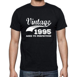 Vintage 1995 Aged To Perfection Black Mens Short Sleeve Round Neck T-Shirt 00100 - Black / S - Casual