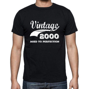 Vintage 2000 Aged To Perfection Black Mens Short Sleeve Round Neck T-Shirt 00100 - Black / S - Casual