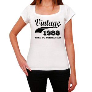 Vintage Aged To Perfection 1988 White Womens Short Sleeve Round Neck T-Shirt Gift T-Shirt 00344 - White / Xs - Casual
