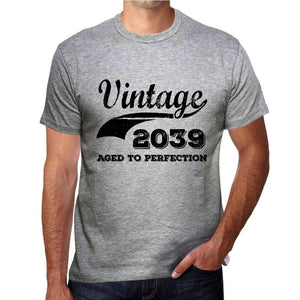 Vintage Aged To Perfection 2039 Grey Mens Short Sleeve Round Neck T-Shirt Gift T-Shirt 00346 - Grey / S - Casual