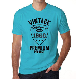 Vintage Superior 1960 Blue Mens Short Sleeve Round Neck T-Shirt - Blue / S - Casual