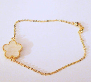 White Flower Gold Chain Bracelet