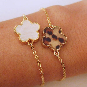 White Panther Flowers Gold Chain Bracelets