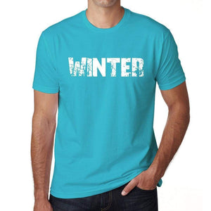 Winter Mens Short Sleeve Round Neck T-Shirt - Blue / S - Casual
