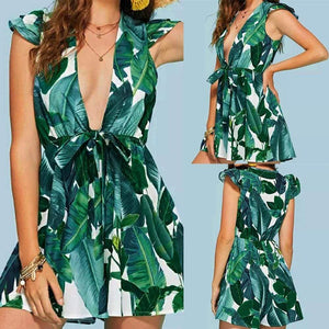 Women Sexy Floral Printing Short Sleevel Mini Dress Evening Party Dress - Green / L