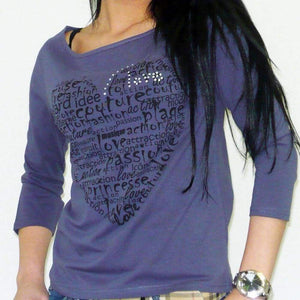 Womens 3/4 Sleeve Top One In The City Passion