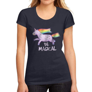 Womens Graphic T-Shirt Be Magical Unicorn French Navy - French Navy / S / Cotton - T-Shirt