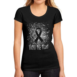 Womens Graphic T-Shirt Cancer Fight The Fight Deep Black - Deep Black / S / Cotton - T-Shirt