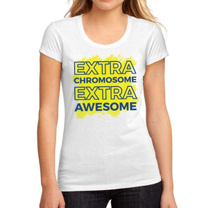 Womens Graphic T-Shirt Down Syndrome Extra Chromosome Extra Awesome White - White / S / Cotton - T-Shirt