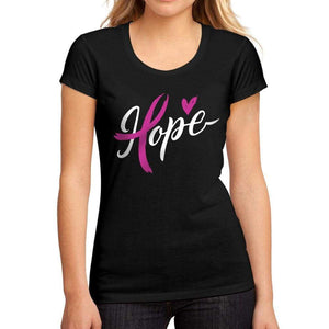 Womens Graphic T-Shirt Fight Cancer Hope Deep Black - Deep Black / S / Cotton - T-Shirt