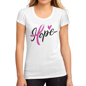 Womens Graphic T-Shirt Fight Cancer Hope White - White / S / Cotton - T-Shirt