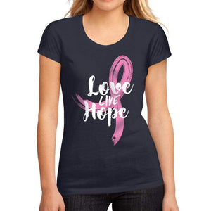 Womens Graphic T-Shirt Fight Cancer Love Live Hope French Navy - French Navy / S / Cotton - T-Shirt