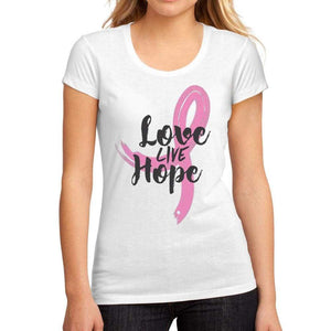 Womens Graphic T-Shirt Fight Cancer Love Live Hope White - White / S / Cotton - T-Shirt