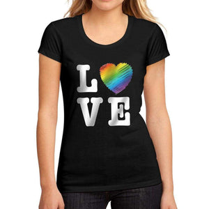 Womens Graphic T-Shirt LGBT Love Deep Black - Deep Black / S / Cotton - T-Shirt