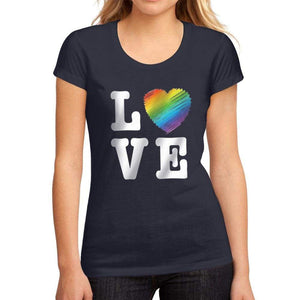 Womens Graphic T-Shirt LGBT Love French Navy - French Navy / S / Cotton - T-Shirt