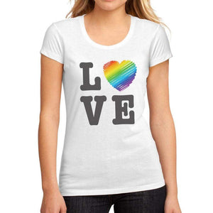 Womens Graphic T-Shirt LGBT Love White - White / S / Cotton - T-Shirt