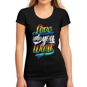 Womens Graphic T-Shirt LGBT Love Who You Want Deep Black - Deep Black / S / Cotton - T-Shirt