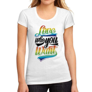 Womens Graphic T-Shirt LGBT Love Who You Want White - White / S / Cotton - T-Shirt