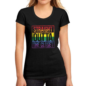 Womens Graphic T-Shirt LGBT Straight Outta the Closet Deep Black - Deep Black / S / Cotton - T-Shirt