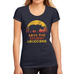 Womens Graphic T-Shirt Save the Chubby Unicorn French Navy - French Navy / S / Cotton - T-Shirt