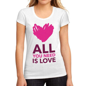 Womens Graphic T-Shirt Valentine Love White - White / S / Cotton - T-Shirt