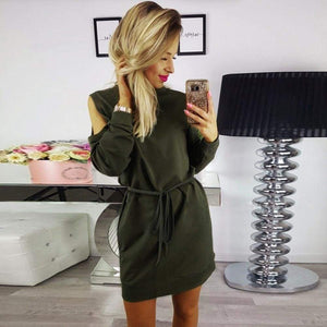 Womens Ladies Holiday Long Sleeve Beach Casual Cold Shoulder Party Mini Dress - Green / L