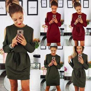 Womens Ladies Holiday Long Sleeve Beach Casual Cold Shoulder Party Mini Dress