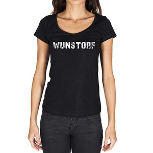 Wunstorf German Cities Black Womens Short Sleeve Round Neck T-Shirt 00002 - Casual