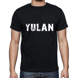 Yulan Mens Short Sleeve Round Neck T-Shirt 5 Letters Black Word 00006 - Casual