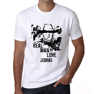 Zebras Real Men Love Zebras Mens T Shirt White Birthday Gift 00539 - White / Xs - Casual