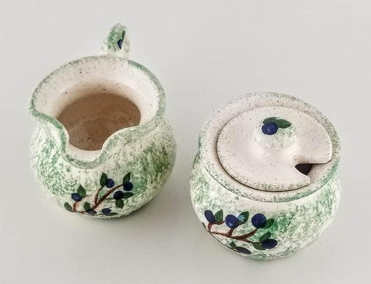 Blueberry Creamer & Sugar Bowl - Earthenware