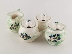 Blueberry Sugar Bowl, Creamer & Jam and Jelly - Earthenware