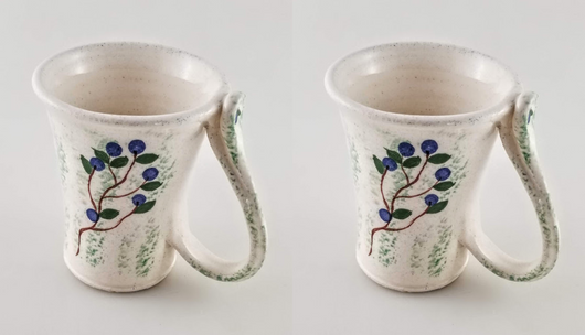 2 Blueberry Mugs - Earthenware