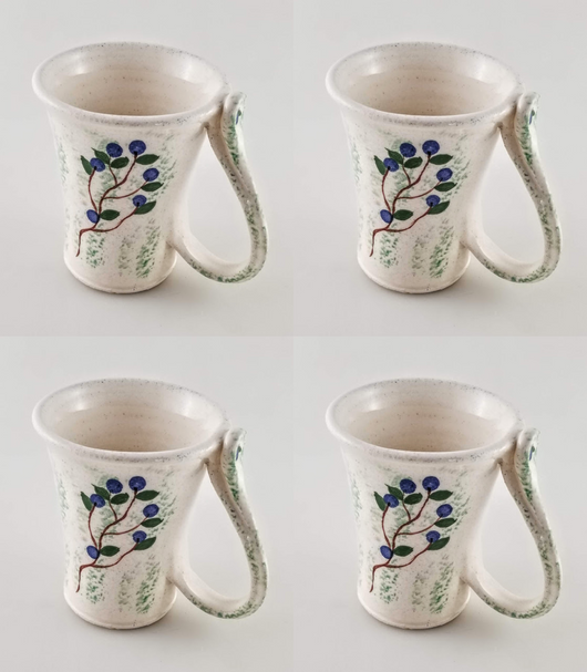 4 Blueberry Mugs - Earthenware