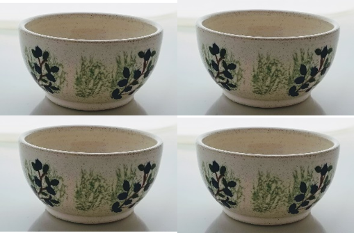 4 Blueberry Bowls - Earthenware