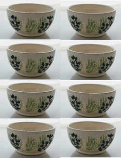 8 Blueberry Bowls - Earthenware