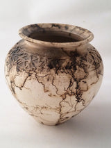 "Horsehair Vase w/carved inlay 6""h x 6""w"