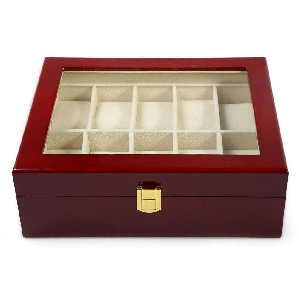 10 slot grid wooden watch and jewelry display case