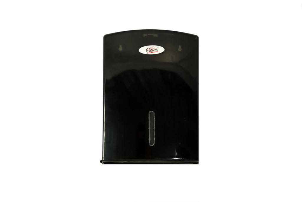 GLEAM PLASTIC BLACK INTERLEAVE HAND TOWEL DISPENSER 1 UNIT