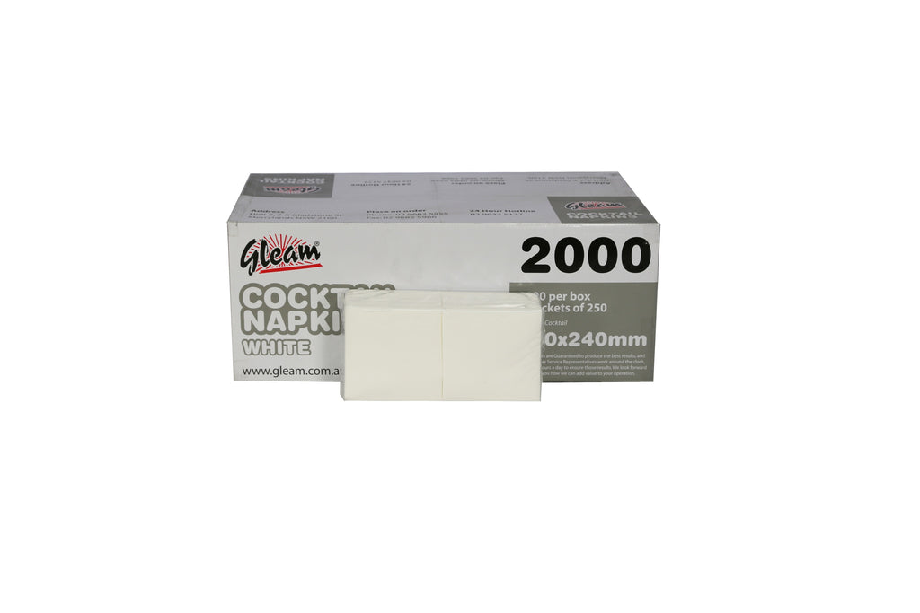 GLEAM COCKTAIL WHITE NAPKINS 240X240MM 2000 UNITS