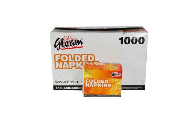 GLEAM FOLDED WHITE NAPKINS 400X400MM 1000 UNITS
